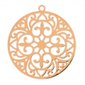 Round light laser cut Pendant 30 mm Pink gold x1