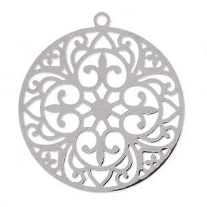 Round light laser cut Pendant 30 mm rhodium x1