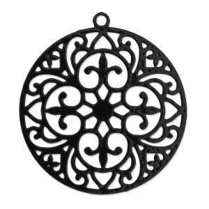 Round light laser cut Pendant 30 mm black nickel x1