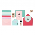 Set of envelopes and double cards unicolour B6 Tropical x36