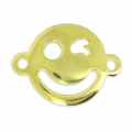 Blinking Smiley Spacer 19x14mm Golden x1