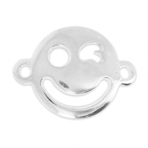 Blinking Smiley Spacer 19x14mm silver x1