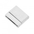 Magnetic clasp of 22 mm for shoelace of 20 mm silver sparkling effect x1
