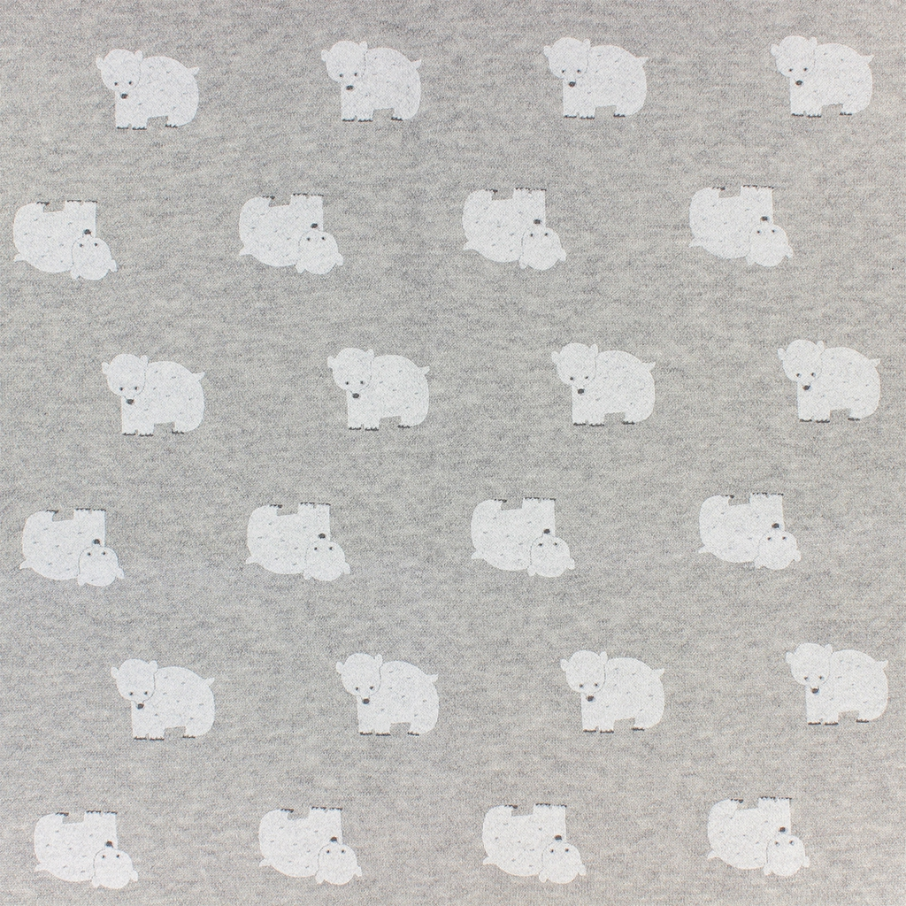 Childish Fabric By Warmly Kiyohara Sweat Bear Pattern Grey White