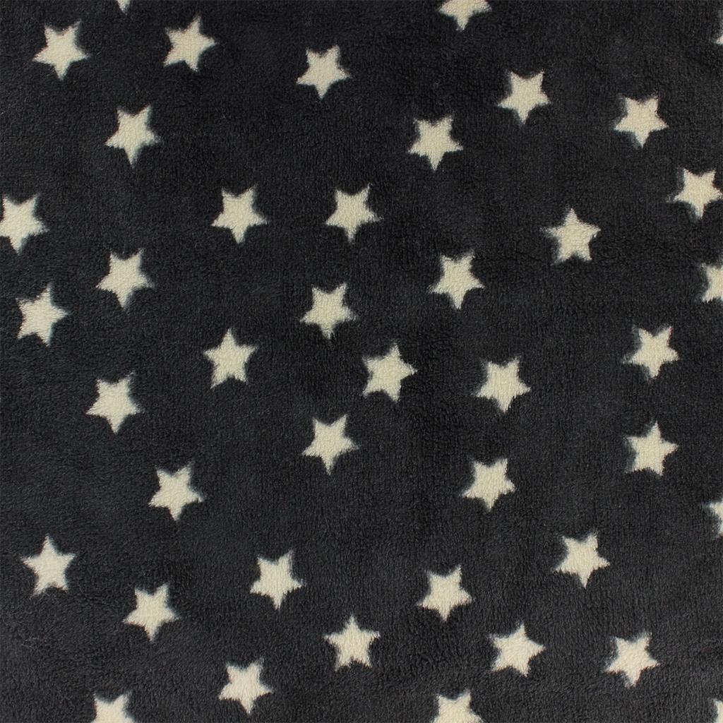 Childish Fabric by Kiyohara - Polar security blanket Stars Pattern Black  x10cm ... 7de512772