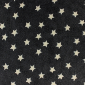 Childish Fabric by Kiyohara - Polar security blanket Stars Pattern Black x10cm