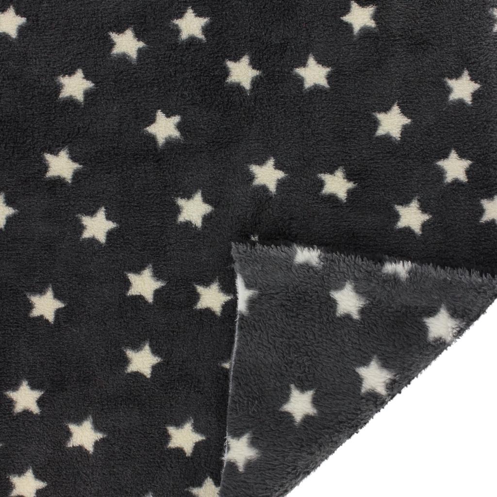 ... Childish Fabric by Kiyohara - Polar security blanket Stars Pattern  Black x10cm d5c13bfe4