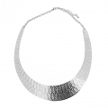 Metal chocker torque chevron pattern with chain 16cm in Stainless Steel x1
