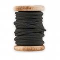 Wooden bobbin of 5 m. of Leather Suede looking Lace by House Doctor 2.6 mm Black
