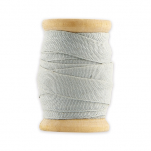 Wooden bobbin of 5m of thick cotton ribbon by House Doctor 10 mm Light Grey