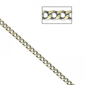 Oval and Flat links Chain 1.5 mm Grey/Golden x1m