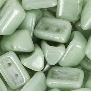 Glass Beads by Roofy Beads 5x8 mm Opaque Light Green Ceramic Look x25