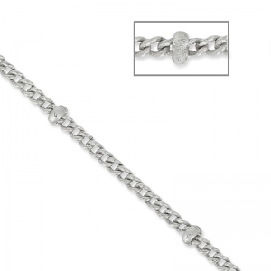 Oval Link Beaded Chain 1.6 mm rhodium x1m
