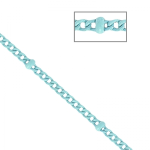 Oval Link Beaded Chain 1.6 mm Light Blue x1m