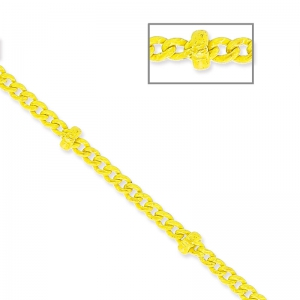 Oval Link Beaded Chain 1.6 mm Yellow x1m