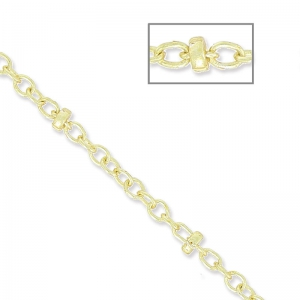 Oval Link Beaded Chain 1.7 mm light gold x1m