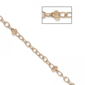 Oval Link Beaded Chain 1.7 mm Sand x1m