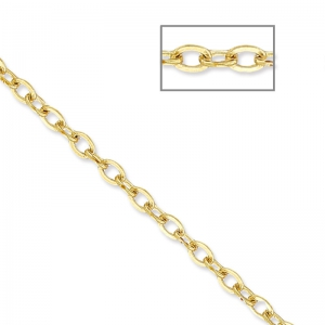 Oval Flat Link Beaded Chain 1.6 mm Golden x5m