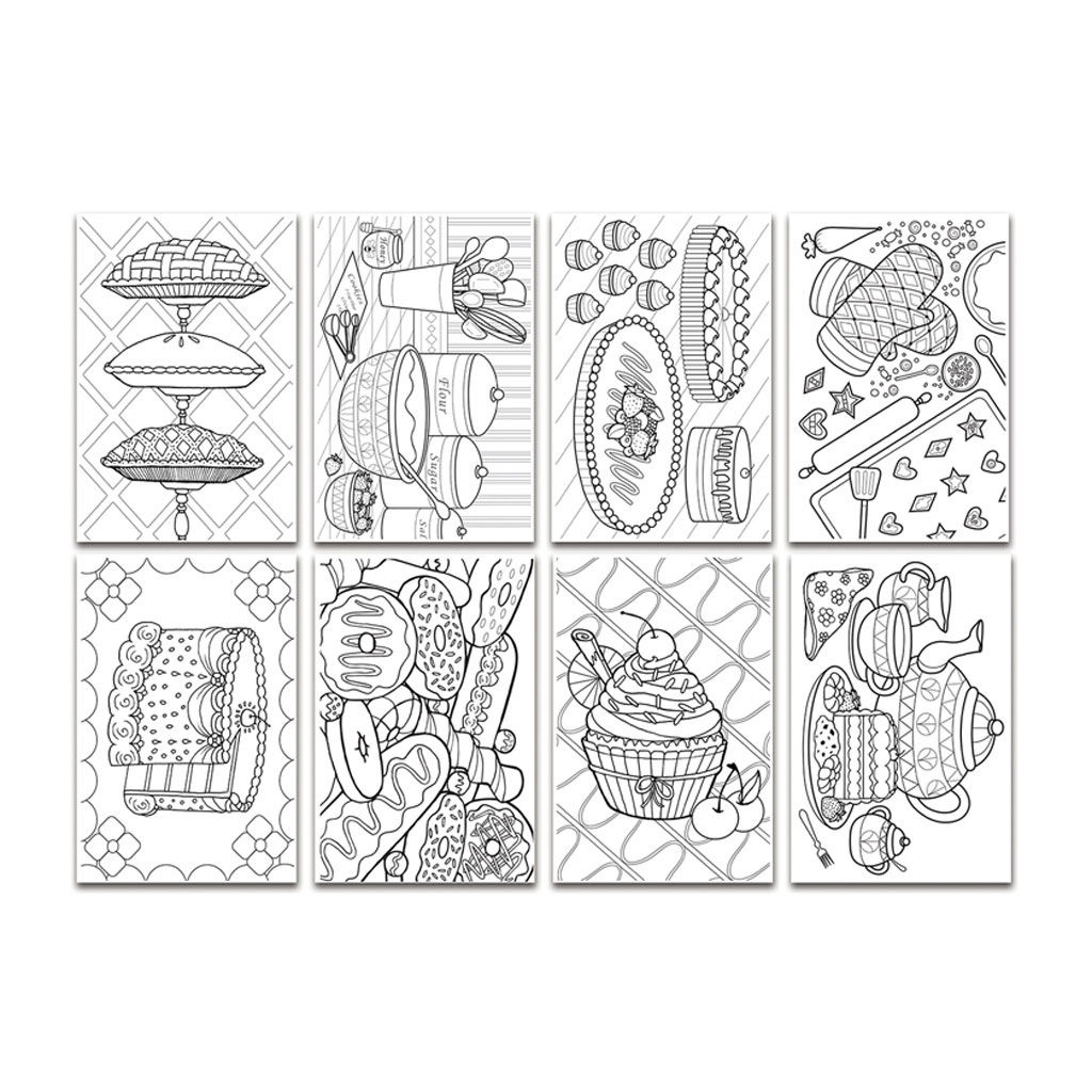 Set of 16 chameleon colouring in cards color cards sweet for Sweet treats coloring pages