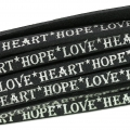 Leather lace Love Heart Hope 5 mm Black/Silver x30cm
