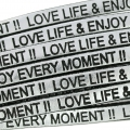Leather lace Love life and enjoy every moment 5 mm Silver/Black  x30cm