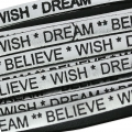 Leather lace Believe Wish Dream 5 mm Silver/Black  x30cm
