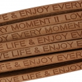 Leather lace Love life and enjoy every moment 5 mm Natural  x30cm