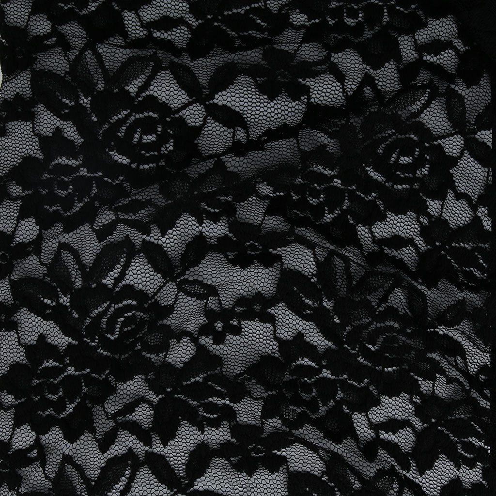 Stretch Lace Fabric Black Flowers Pattern X10cm Perles Co