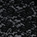 Stretch Lace Fabric - Black Flowers Pattern x10cm