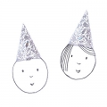 Set of 8 kids party hats 20 cm Colouring activity