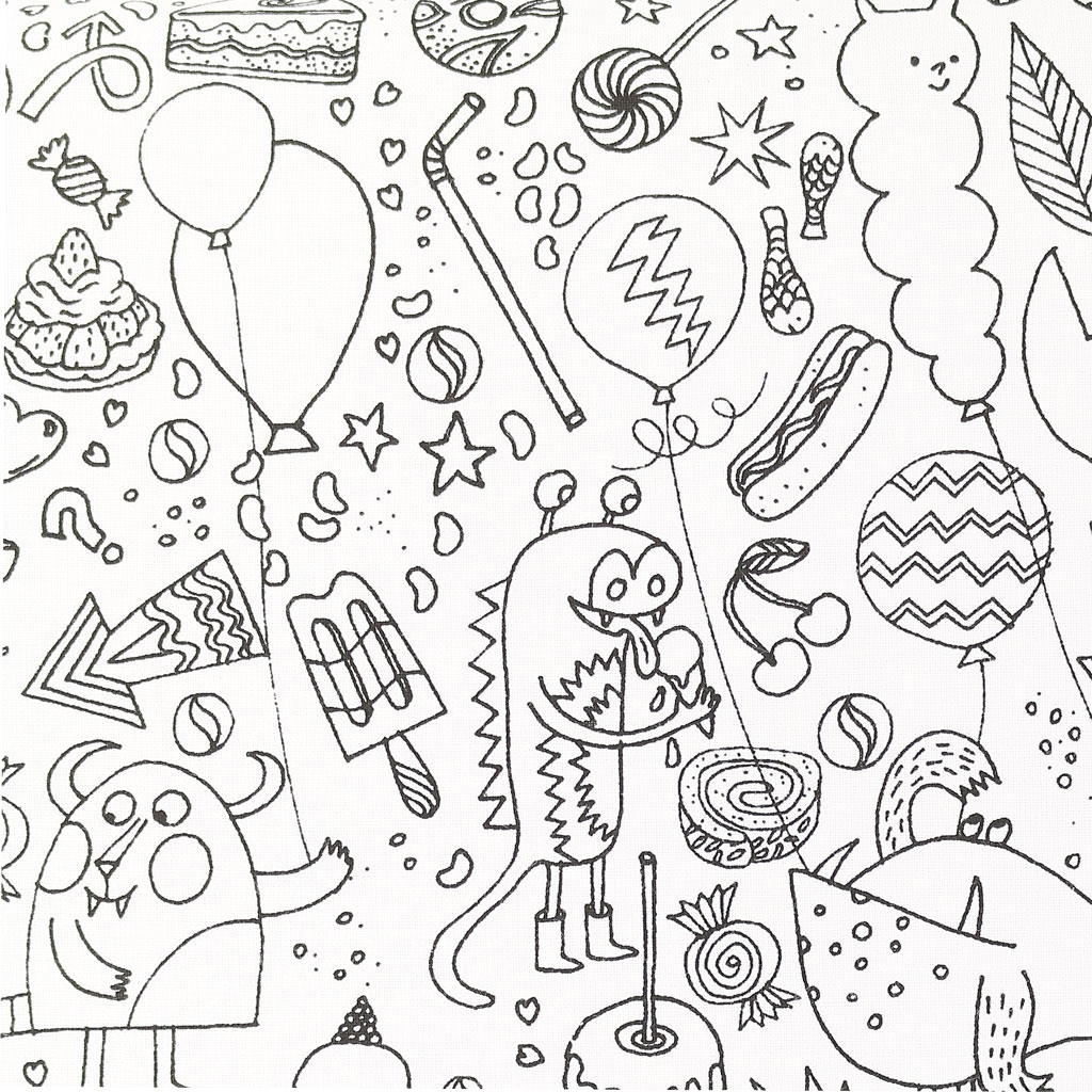 Colouring activity Fabric - Childish Design Monster and ...