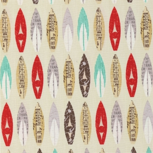 Cotton Fabric by Off Shore - Surfboards Tan x10cm