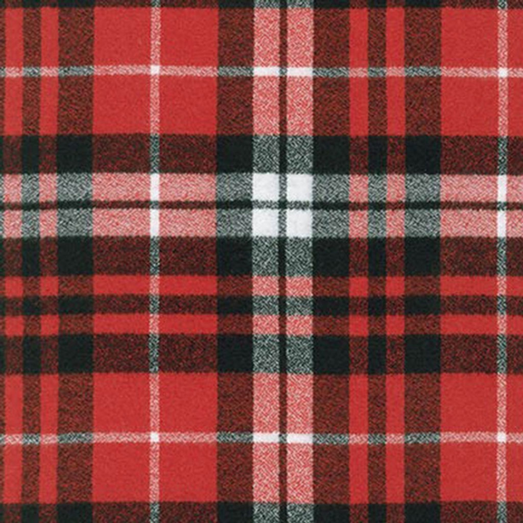 Cotton Mammoth Checkered Flannel Fabric Scarlet Plaid