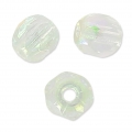 Fire Polished faceted round beads 4mm Crystal Green Rainbow x50