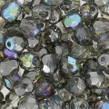 Fire Polished faceted round beads 4mm Crystal Graphite Rainbow x50