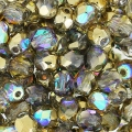 Fire Polished faceted round beads 4mm Crystal Golden Rainbow x50