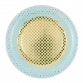Cardboard plates Yey let's party Confetti Pattern 23cm Blue/Green/Golden x12