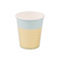 Cardboard Cups Yey let's party Confetti Pattern 8.5cm Blue/Green/Golden x12