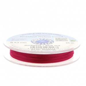 Griffin European Braided Nylon Thread 0.3 mm Dark Red Fuchsia x25m