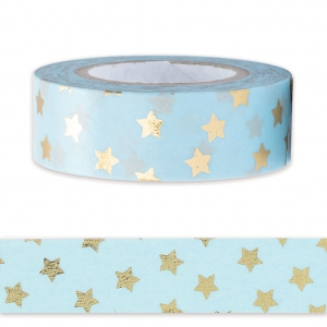 Adhesive Tape - by Paper Poetry 15mm Golden Stars/ Blue x10m