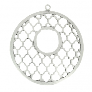 Openworked Round Pendant Oriental Pattern 47.5 mm Antique Silver x1