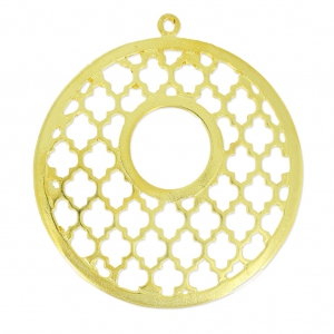 Openworked Round Pendant Oriental Pattern 47.5 mm Golden x1