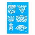 Silk Screen Moiko 74x105 mm - Aztec Masks Pattern 7.26