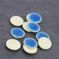 Round Ceramic Cabochon Crackled Finish 20 mm Blue x1
