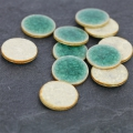 Round Ceramic Cabochon Crackled Finish 20 mm Green Turquoise x1