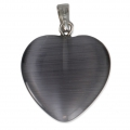 Cat's eye Heart-shaped pendant 20mm Black