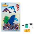 Dolphin and Sea Horse Kit with Hama MIDI 5 mm beads for Children