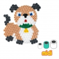 Round Dog Pegboard Kit with Hama MIDI 5 mm beads for Children