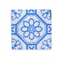 Square Cabochon with Mirror Finish 14 mm Crystal Azulejos Pattern x1