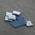 Square Cabochon with Mirror Finish 12 mm Crystal Azulejos Pattern x1